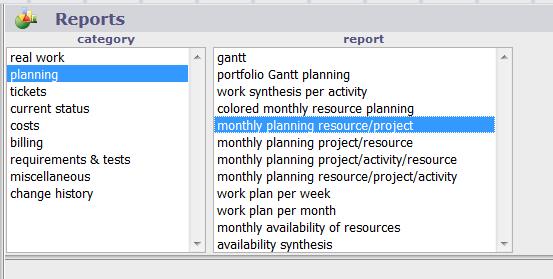 ProjeQtOr free project management software - Gantt Reports